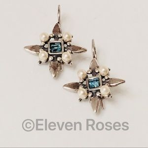 Sterling Blue Topaz & Pearl Starburst Earrings
